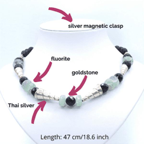 blue gemstone shell necklace
