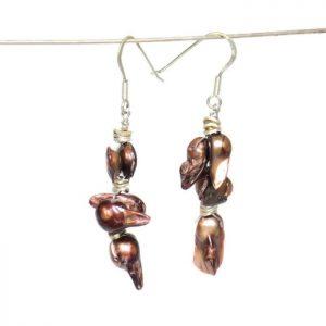 brown blister pearl earrings