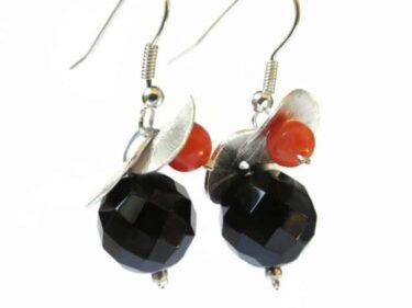 silver onyx coral earrings