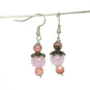 silver rose quartz earrings