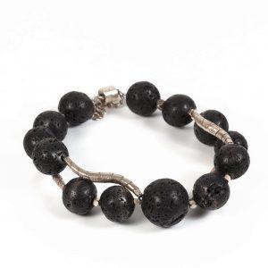 lava stone silver bracelet