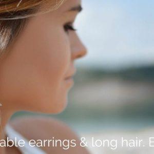 2 adorable earrings & long hair. Beautiful!