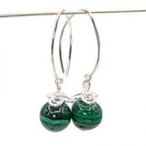 malachite green stone earrings