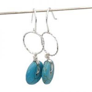 silver blue howlite earrings