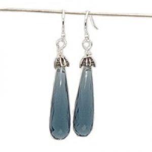 long quartz earrings blue