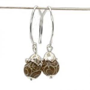 brown jade stone earrings