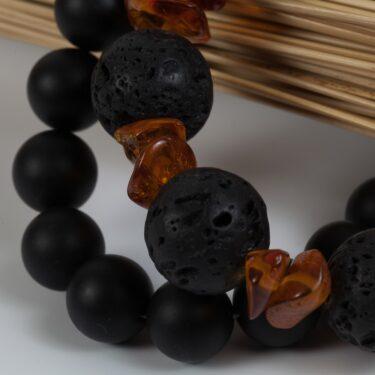 black lava beaded bracelet