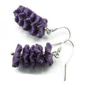 purple coral earrings flower