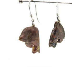 red jasper earrings dolphins