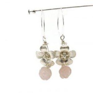 rose quartz earrings dangle