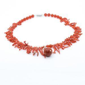 orange coral branch necklace