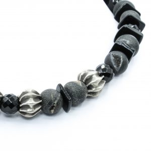 gray bead agate necklace