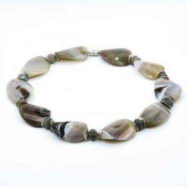 large gray agate necklace