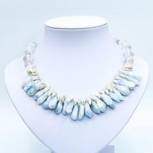 light blue rhinestone necklace