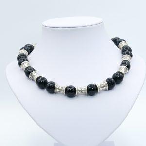 silver black diamond necklace