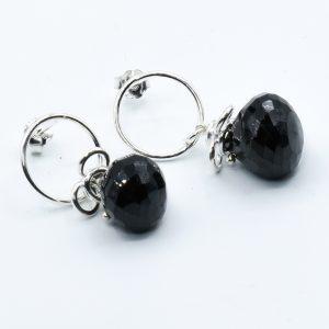 black spinel earrings studs