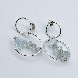 blue aquamarine earrings hoops