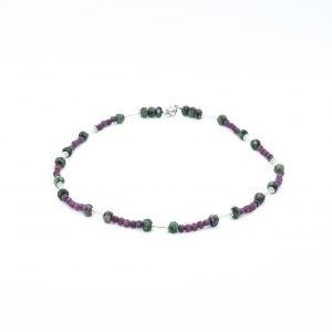 red ruby necklace with silver