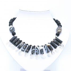 black agate necklace bib style
