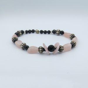 pink rose quartz necklace statement