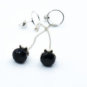 black gemstone stud earrings