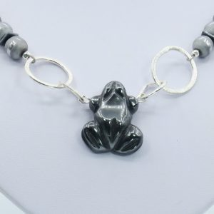 gray hematite silver necklace