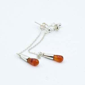 orange stone stud earrings