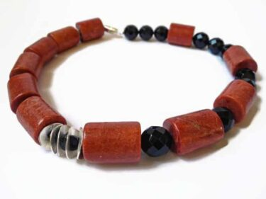 red black coral onyx necklace