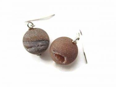 dark pink agate earrings