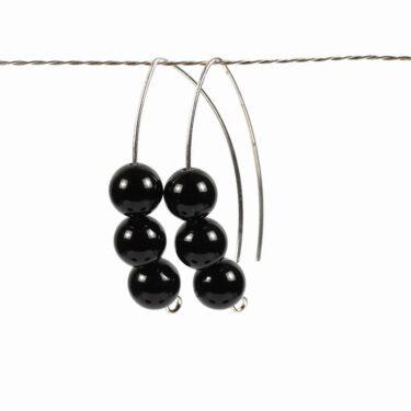 onyx silver earrings