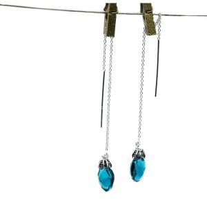 blue quartz threader earrings