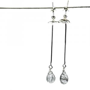 gray rutile quartz drop earrings
