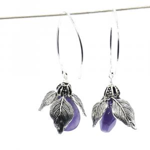 purple amethyst earrings flower