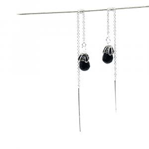 blue stone threader earrings