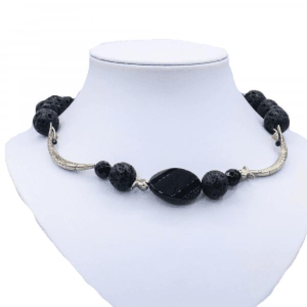 black onyx necklace silver