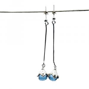 long light blue stone earrings
