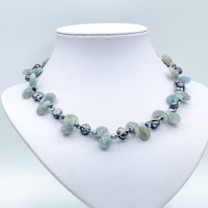 blue jade pearl necklace