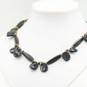 dark blue goldstone necklace