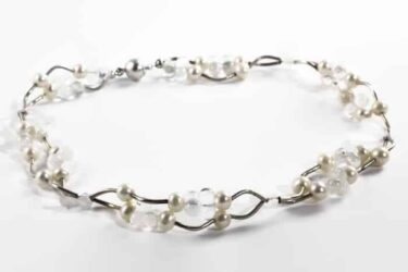 silver and white pearl necklace