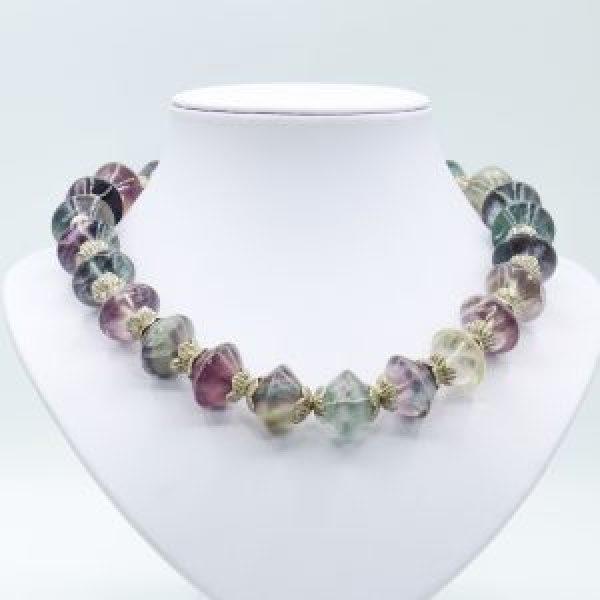 purple green gemstone necklace